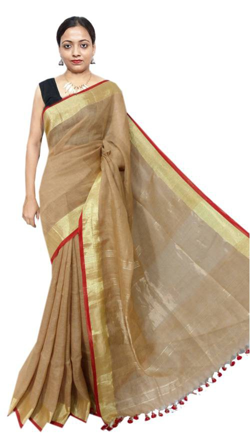 Maroon Linen Solid Handwoven Saree With Unstitched Blouse Material
