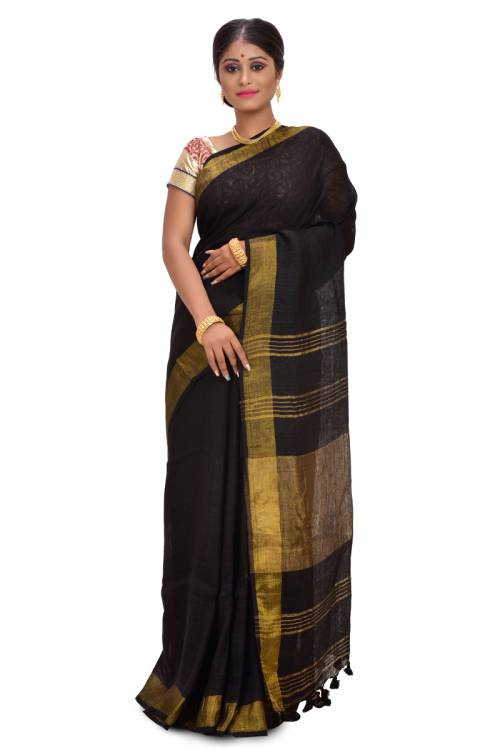 Black Linen Solid Handwoven Saree With Unstitched Blouse Material