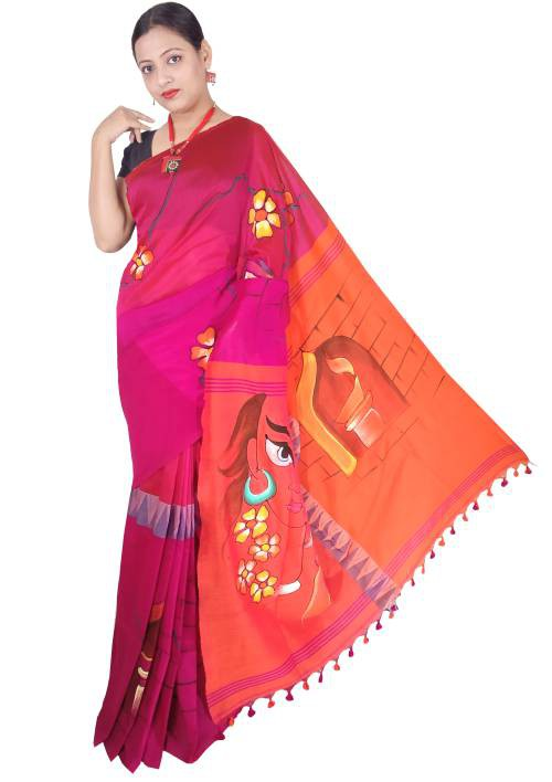 Orange And Pink Madhyamani Handpainted Cotton Saree