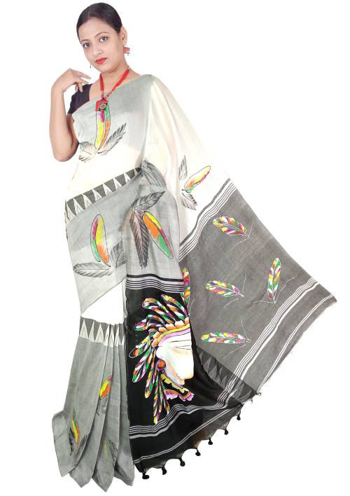Black And White Madhyamani Handpainted Cotton Saree