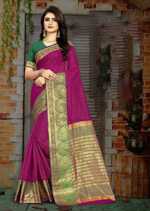 Purple Cotton Traditional Woven Saree With Unstitched Blouse Material
