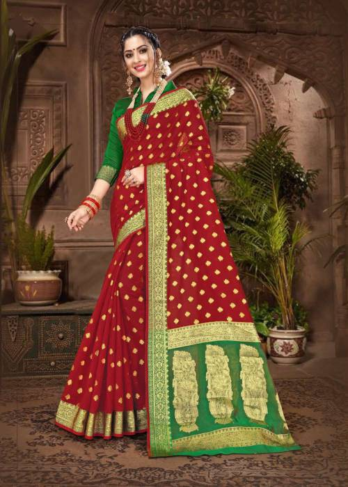 Red Chanderi Cotton Traditional Jacquard Saree With Unstitched Blouse Material