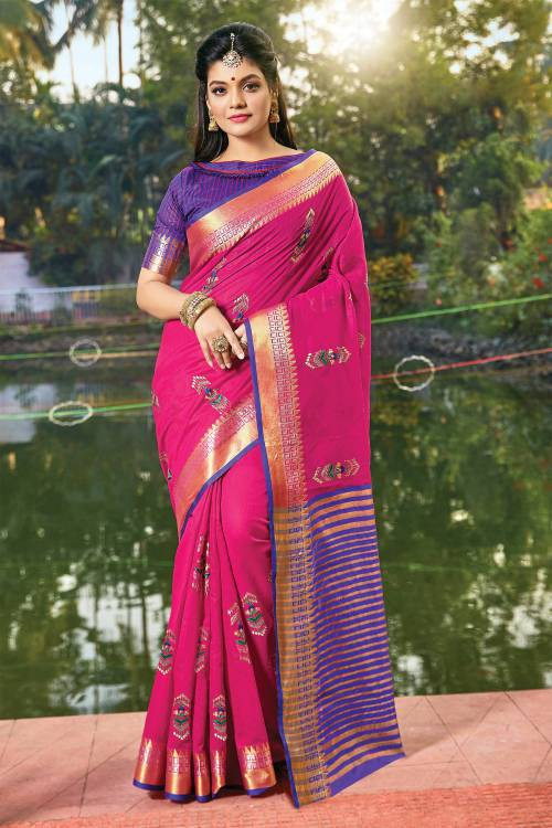 Pink Cotton Designer Resham Embroidery Saree With Unstitched Blouse Material