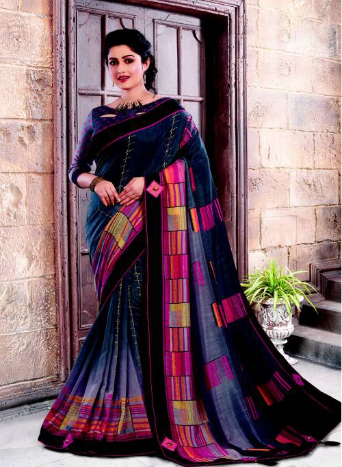 Black Silk Traditional Lace Work Saree With Unstitched Blouse Material
