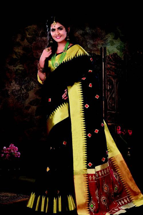 Black Silk Traditional Resham Embroidered Saree With Unstitched Blouse Material