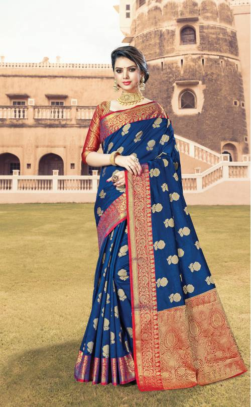 Blue Cotton Traditional Zari Work Saree With Unstitched Blouse Material