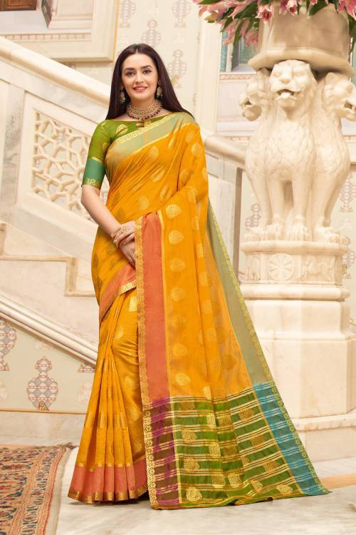 Yellow Cotton Traditional Woven Saree With Unstitched Blouse Material