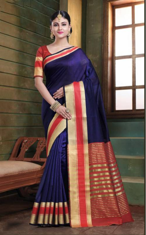 Violet Cotton Resham Woven Saree With Unstitched Blouse Material