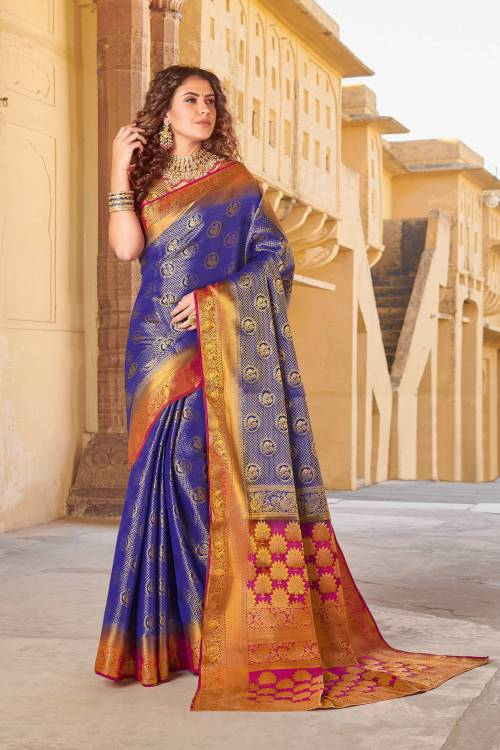 Violet Silk Traditional Jacquard Saree With Unstitched Blouse Material