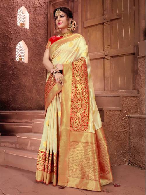 Gold Silk Traditional Zari Border Saree With Unstitched Blouse Material