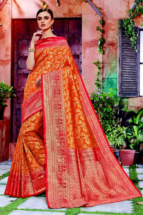 Orange Banarasi Silk Traditional Woven Saree With Unstitched Blouse Material