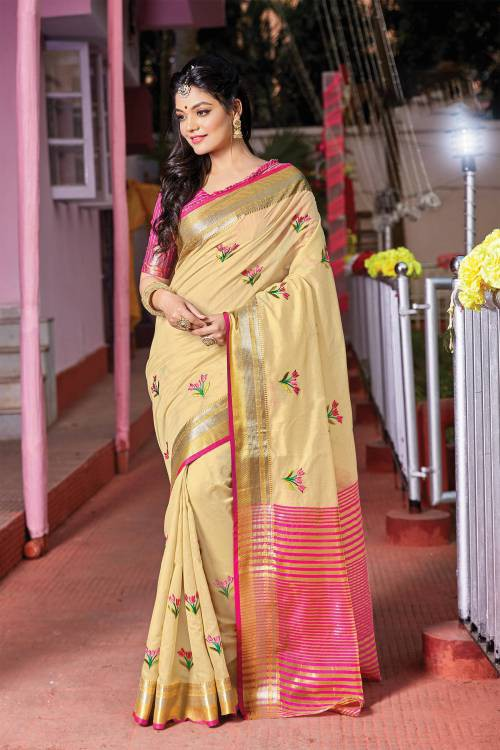 Beige Cotton Designer Resham Embroidery Saree With Unstitched Blouse Material