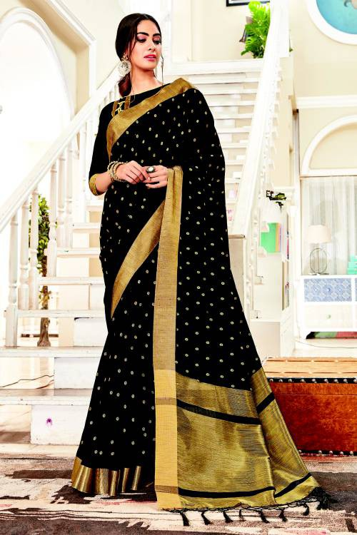 Black Silk Traditional Zari Work Saree With Unstitched Blouse Material