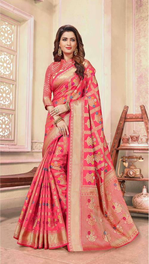 Pink Cotton Traditional Woven Saree With Unstitched Blouse Material