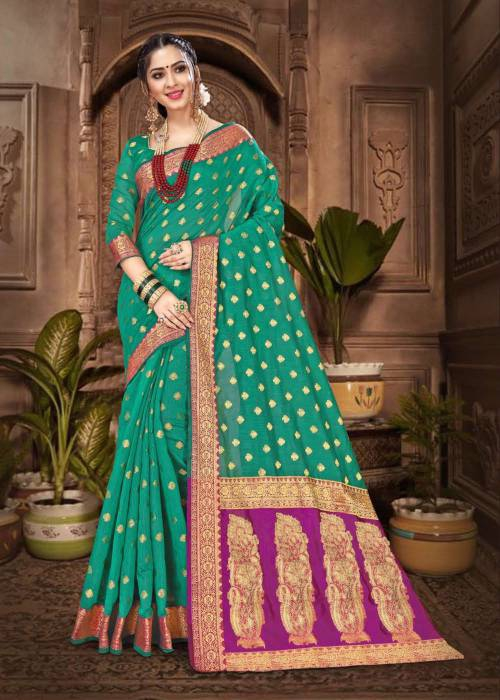 Green Chanderi Cotton Traditional Jacquard Saree With Unstitched Blouse Material