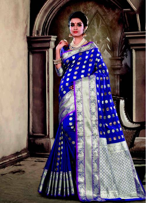 Purple Silk Traditional Jacquard Saree With Unstitched Blouse Material