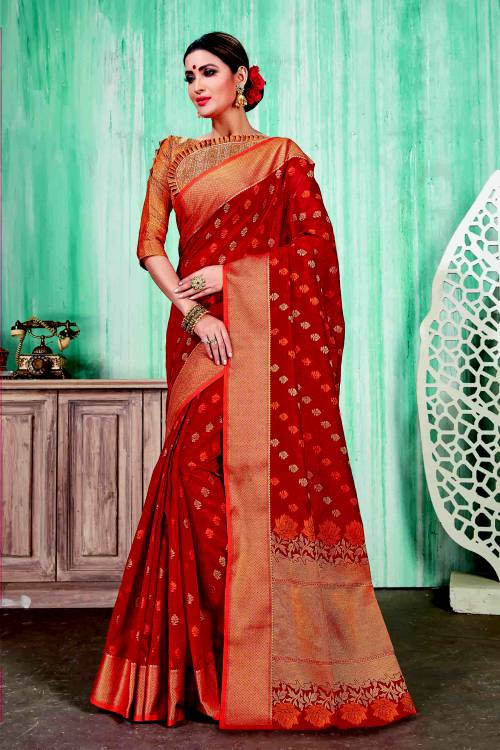 Red Cotton Traditional Zari Work Saree With Unstitched Blouse Material