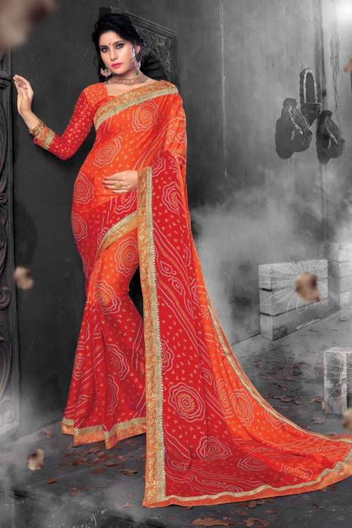Orange Chiffon Traditional Jacquard Saree With Unstitched Blouse Material