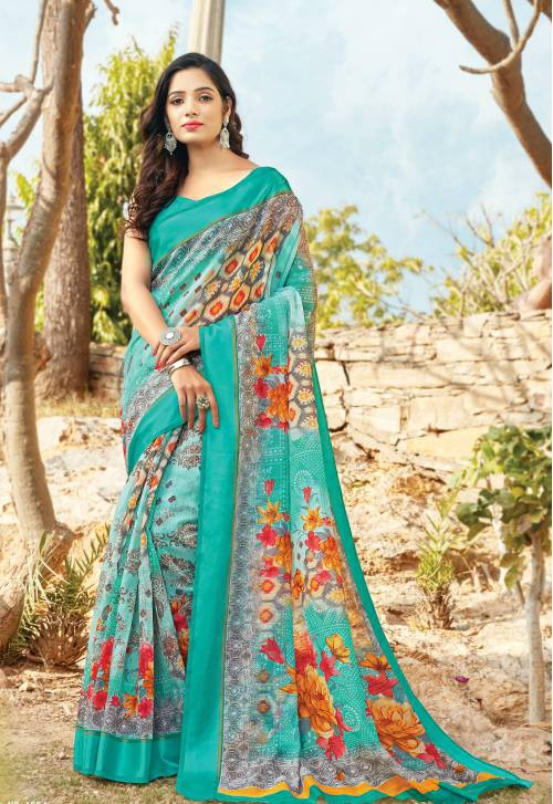Sky Blue Cotton Traditional Embellished Saree With Unstitched Blouse Material