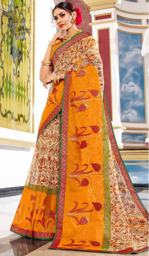 Yellow Cotton Resham Embroidery Saree With Unstitched Blouse Material