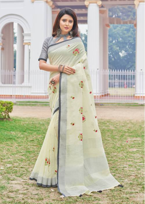 White Cotton Traditional Solid Saree With Unstitched Blouse Material