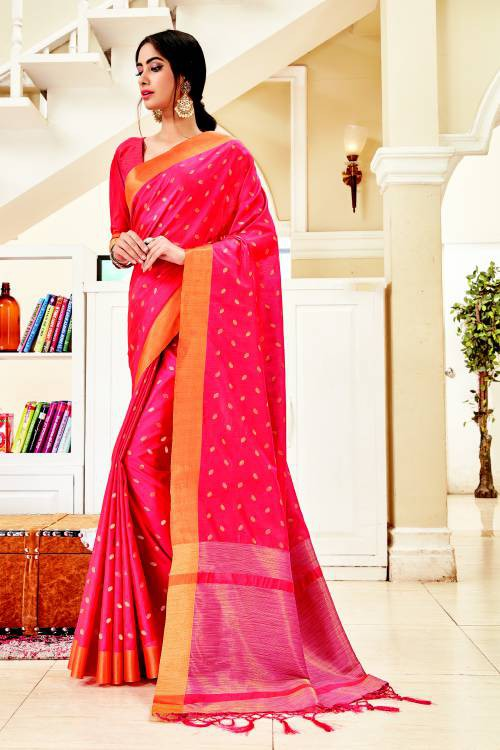 Pink Silk Traditional Zari Work Saree With Unstitched Blouse Material