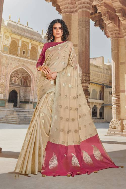 Beige Cotton Traditional Zari Work Saree With Unstitched Blouse Material