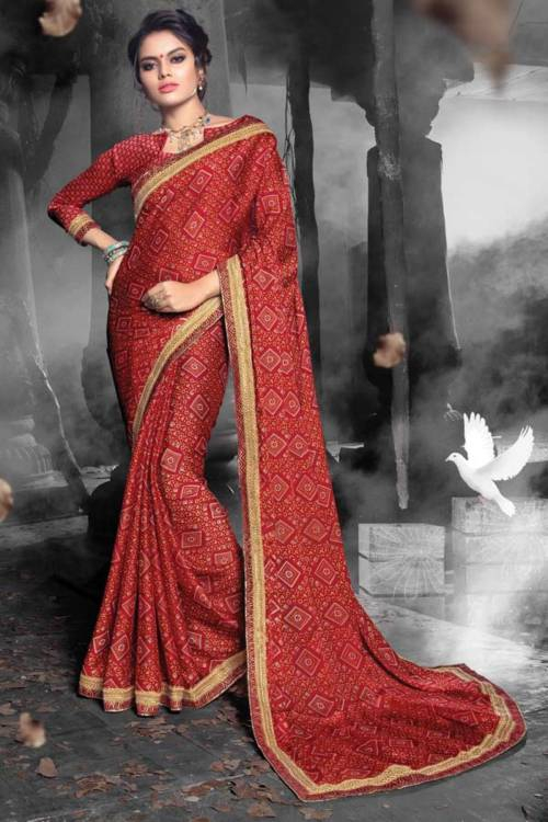 Red Chiffon Traditional Jacquard Saree With Unstitched Blouse Material