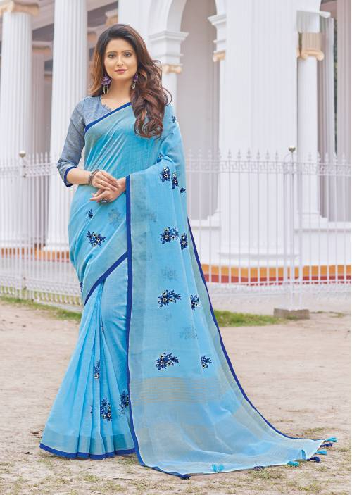 Blue Cotton Traditional Solid Saree With Unstitched Blouse Material
