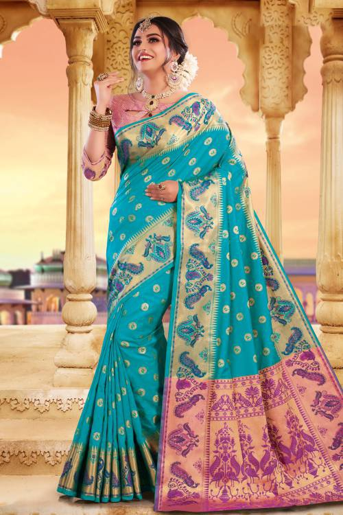 Sky Blue Silk Resham Embroidered Saree With Blouse Piece