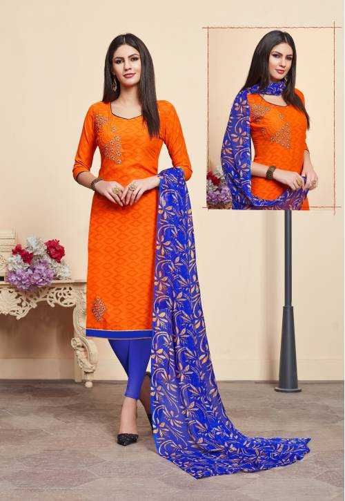 Orange Cotton Jacquard Embroidered Straight Churidar Suit