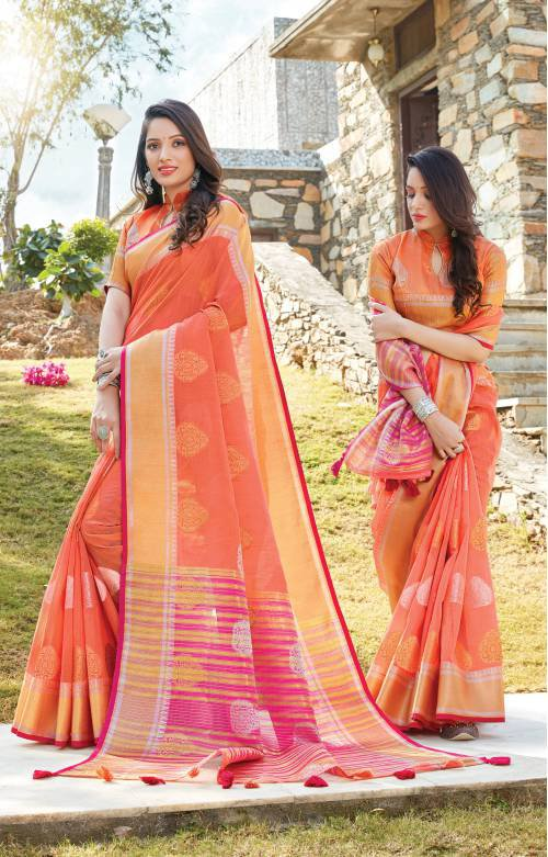 Sangam Prints Peach Linen Woven Saree With Blouse Piece