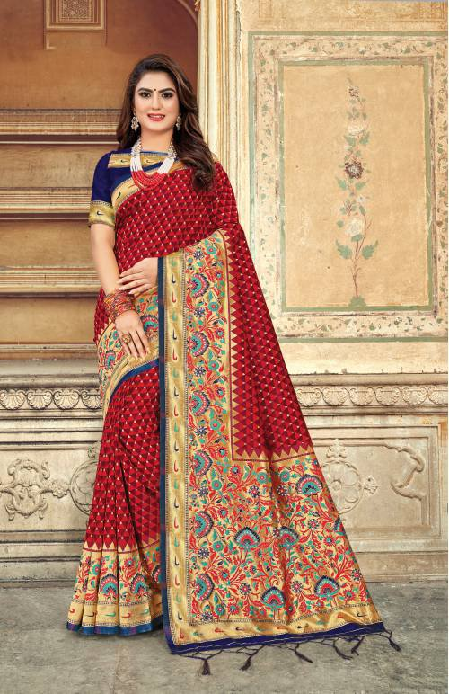 Red Silk Resham Embroidered Saree With Blouse Piece