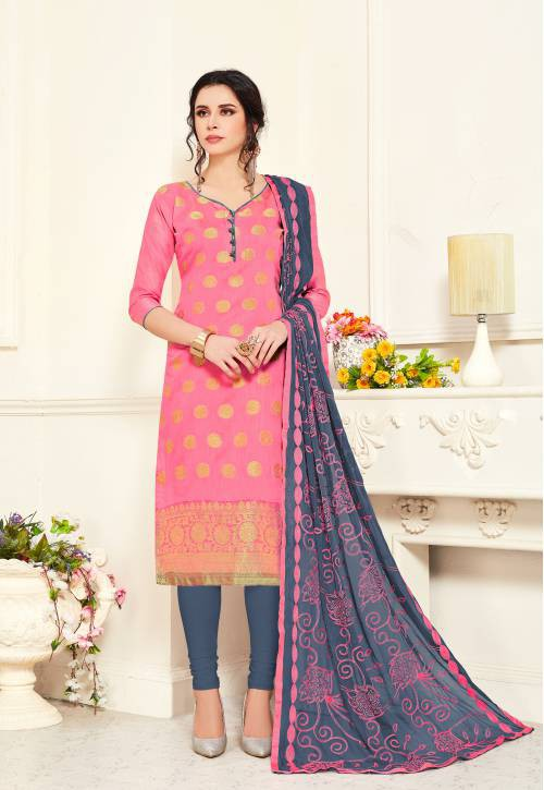 Beige Banarasi Silk Plain Straight Churidar Suit