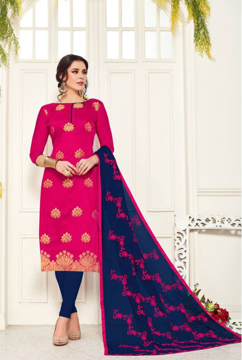 Blue Banarasi Silk Plain Straight Churidar Suit
