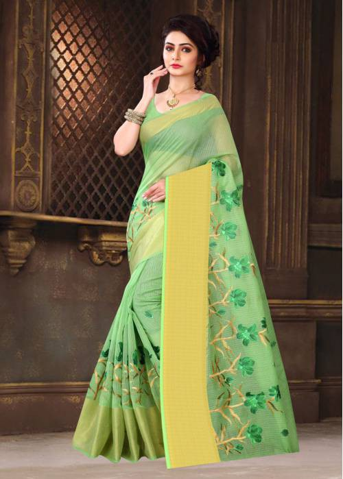Green Super Net Traditional Resham Embroidered Saree With Blouse Piece