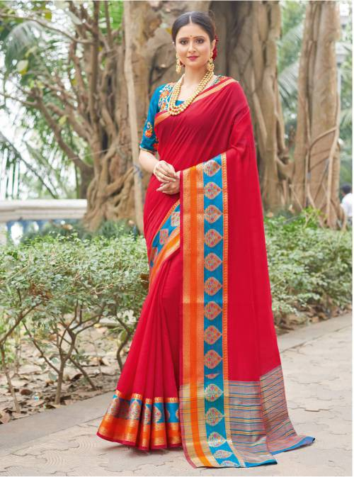 Red Silk Woven Saree With Blouse Piece