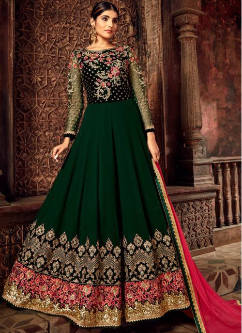 Green Georgette Embroidered Semi-stitched Anarkali Suit