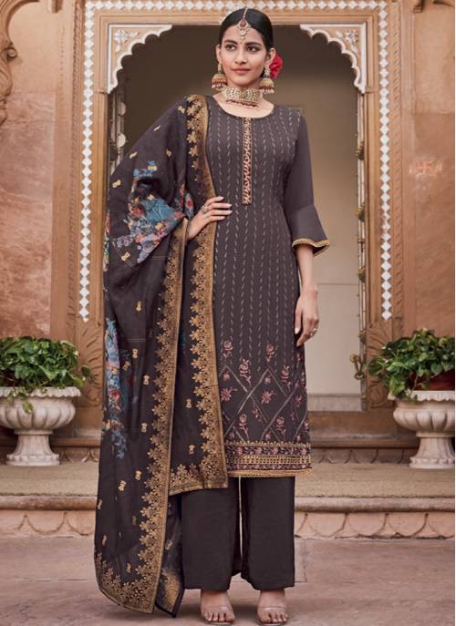 Black Crepe Embroidered Semi-stitched Straight Suit