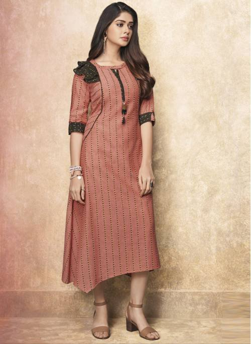 Red Rayon Embroidered Ankle Length Straight Kurti