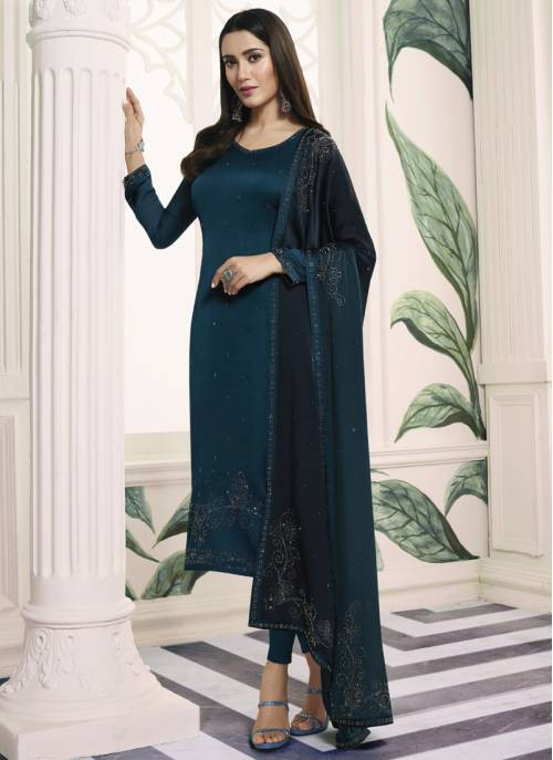 Turquoise Georgette Embellished Semi-stitched Straight Suit