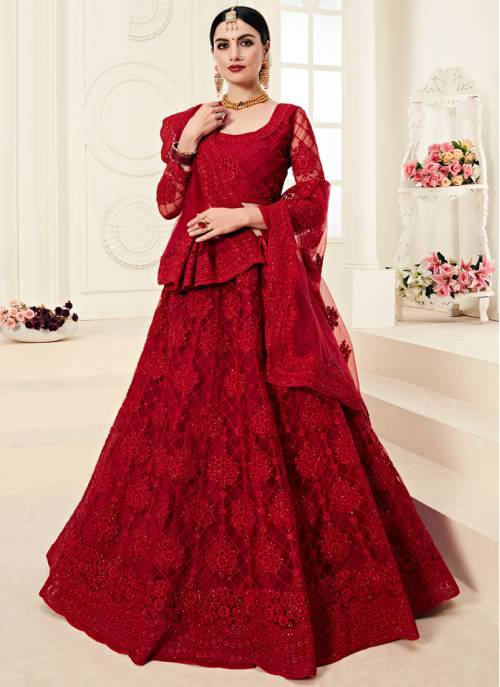 Red Net Designer Aari Embroidered Unstitched Lehenga Choli