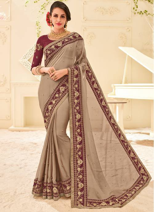 Brown Chiffon Designer Kutch Embroidered Saree With Unstitched Blouse Material