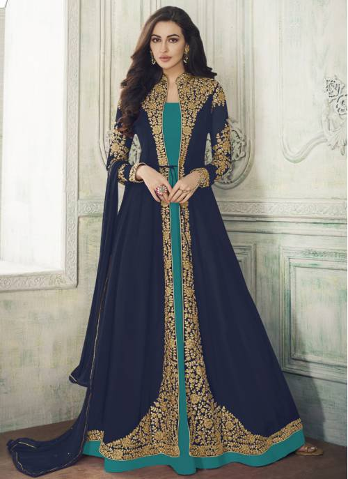 Navy Georgette Embroidered Semi-stitched Anarkali Suit