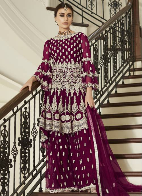 Maroon Net Embroidered Semi-stitched Sharara Suit