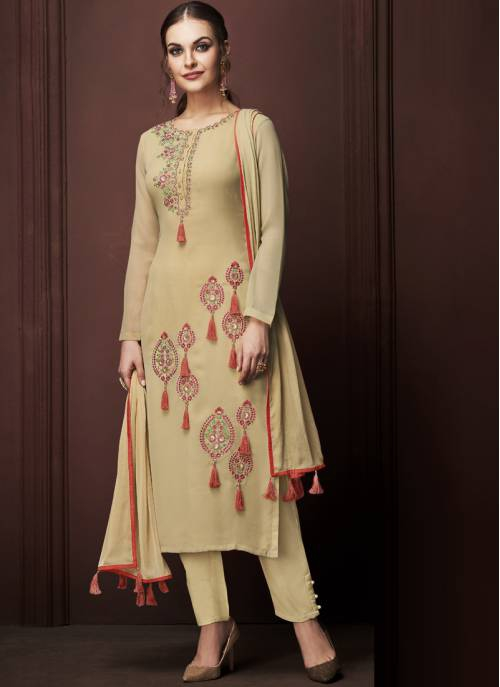 Yellow Georgette Embroidered Unstitched Straight Suit