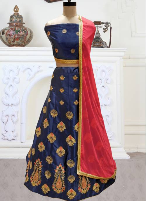 Blue Silk Embroidered Designer Semi-stitched Lehenga Choli