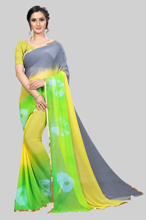 Yellow Chiffon Solid Saree With Unstitched Blouse Material