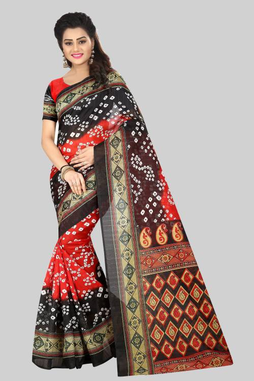 Red Bhagalpuri Silk Printed Saree With Unstitched Blouse Material
