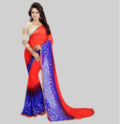 Red Chiffon Printed Saree With Unstitched Blouse Material